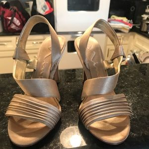 Nina beige/gold high heeled evening sandals